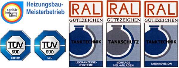 Impressum Zertifikate Tank Therm